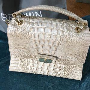 Brahmin Brinley limestone Melbourne croc leather